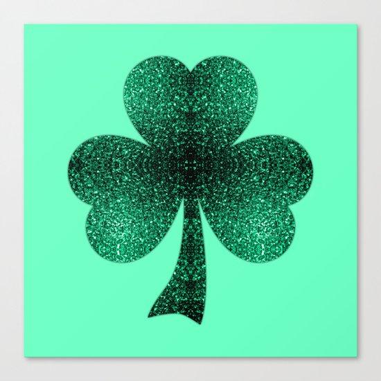 Emerald green shamrock clover sparkles Canvas Print