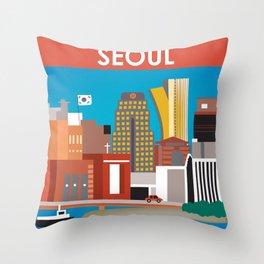 Seoul, South Korea - Skyline Illustration by Loose Petals Throw Pillow