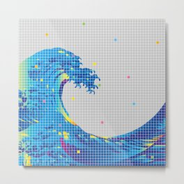 Great Wave in checked pattern_A Metal Print