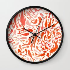 Koi - Coral & White Wall Clock