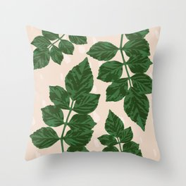 Sweet Leaf Motif on spotted peach Throw Pillow