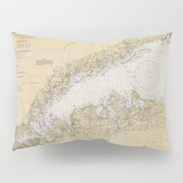 Vintage Map of The Long Island Sound (1934) Pillow Sham