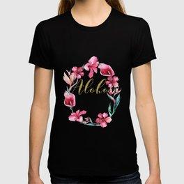 Gold Aloha Floral Wreath T-shirt