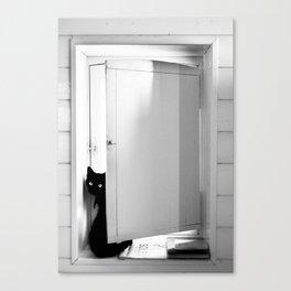 Le chat sur un solex Canvas Print