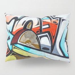 Graffiti blue cyan woman abstract impressionist street art colorful red gray yellow spraypaint urban Pillow Sham