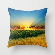 A New Day In The Farm Fields - Painting Style Throw Pillow