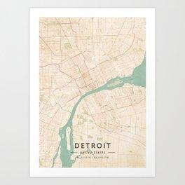Detroit, United States - Vintage Map Art Print