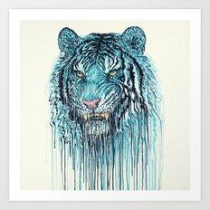 Blue Tiger Drip Art Print