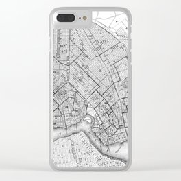 Vintage Map of Brookyln (1868) BW Clear iPhone Case