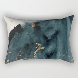 Sapphire an Gold Abstract [2] by Alyssa Hamilton Art Rectangular Pillow