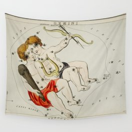 Sidney Halls (1831) astronomical chart  of the zodiac Gemini Wall Tapestry