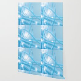 Blue background with beautiful smooth lines and lights. Lights and iridescent lines on a blue backgr Wallpaper