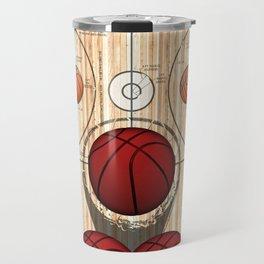 Colorful Red basketballs on a Basketball Court Travel Mug