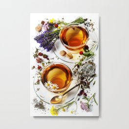 Herbal tea with honey, wild berry and flowers on wooden background Metal Print