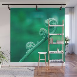 Elegant Green Stem Curls Wall Mural