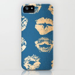 Metallic Gold Lips in Orange Sherbet and Saltwater Taffy Teal Shimmer iPhone Case