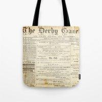 newspaper Tote Bags featuring Newspaper by Caroline K