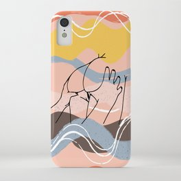 The Waves Of Sex, Erotic Lovers Art, Minimalist Sex Illustration, Modern Sex Pose Line Drawing iPhone Case