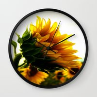 sunflower Wall Clocks featuring Sunflower by 2sweet4words Designs