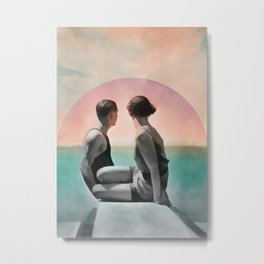Collage Couple in Sunset Metal Print