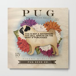Pug dog seed packet artwork by Stephen Fowler Metal Print