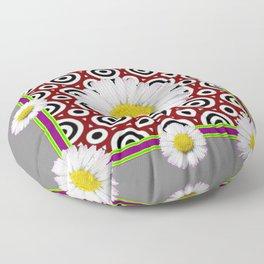 Modern Deco  Style Shasta Daisies Purple Art Floor Pillow