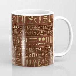 Egyptian hieroglyphs gold on brown leather Coffee Mug