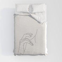 Hands line drawing illustration - Grace Duvet Cover
