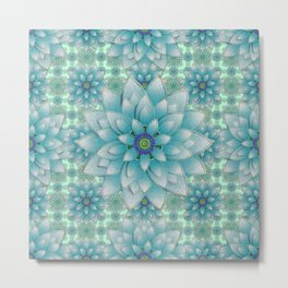 Embroidered blue&green Metal Print