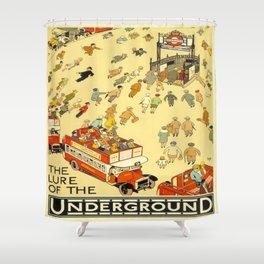 Vintage poster - London Underground Shower Curtain