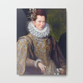 Portrait of Court Lady with Dog by Lavinia Fontana Metal Print