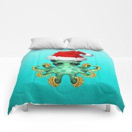 Christmas Octopus Wearing a Santa Hat Comforters