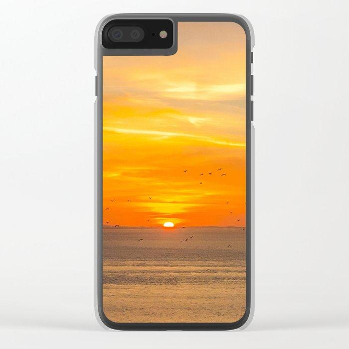 Sunset Coast with Orange Sun and Birds Clear iPhone Case