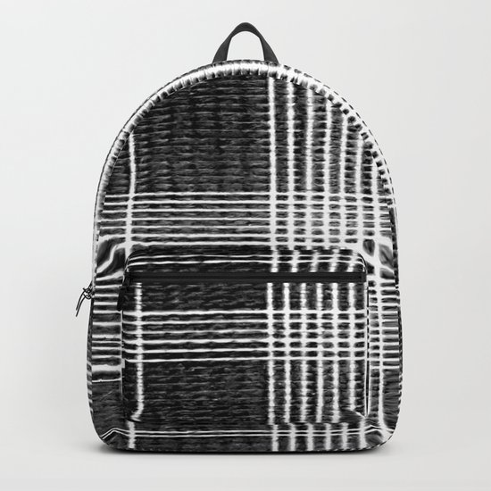 Stitched Plaid in Black and White Backpack
