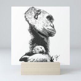 Megan and Mbani gorilla Mini Art Print