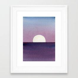 Moonset Watercolor Framed Art Print