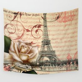 vintage white rose butterfly music notes floral eiffel tower paris art  Wall Tapestry