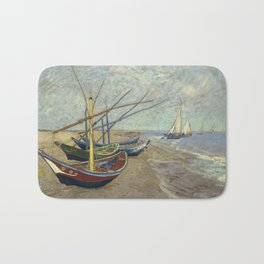 Fishing boats on the beach at Les Saintes-Maries-de-la-Mer Bath Mat