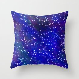 Stars in the Navy Blue Sky Throw Pillow