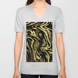 Black and gold marble pattern Unisex V-Neck