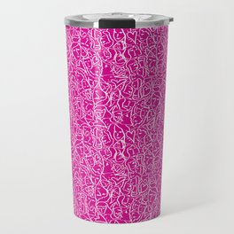 Elios Shirt Faces with Valentine Hearts in White Outlines on Hot Pink Travel Mug