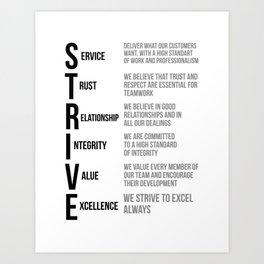 Strive Words, Office Decor Ideas, Wall Art Art Print