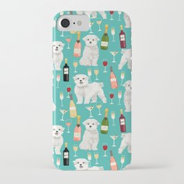 Maltese wine pattern dog breed dog portrait pet friendly pet art champagne iPhone Case