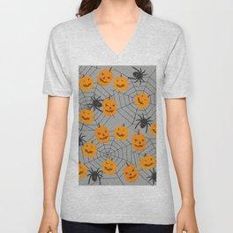 Hallween pumpkins spider pattern Unisex V-Neck
