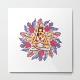 Feathers Meditation | Peaceful Art Metal Print
