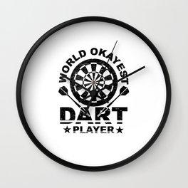 Funny Dart Gift World Okayest Dart Player Wall Clock