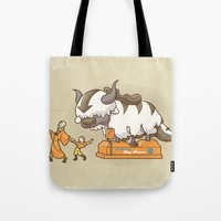 appa Tote Bags featuring Ride The Sky Bison  by Serkworks Pop