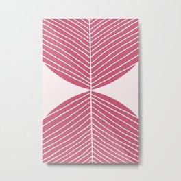 Minimal Fall Leaf - Soft Berry Metal Print