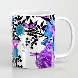 TOIL BLACK LEAF PALM PURPLE ROSES AND HUMMINGBIRDS Coffee Mug