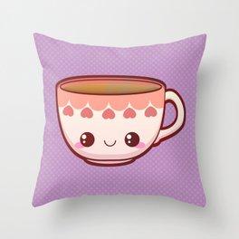 Kawaii Teacup Throw Pillow